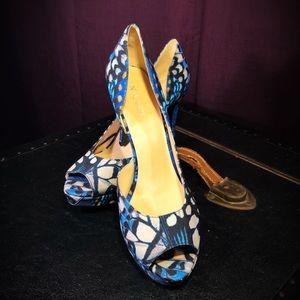 Nine West, Constance D'Orsay, Blue, Peep Toe Pumps